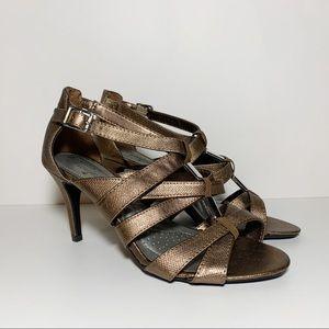 Metallic Copper Strappy Open Toe Wide Heels